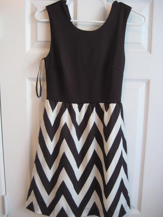 Black Chevron Dress by Honey Punch
